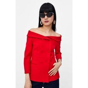 NWT Zara Basic Red Off-The-Shoulder Blazer